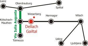 Lage der Gemeinde Dellach im Großraum